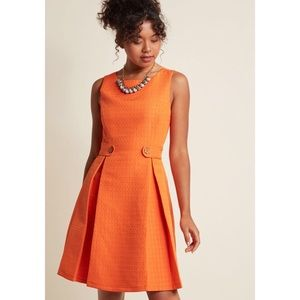 ModCloth Orange Pleated A-Line Fit Flare Dress 1X